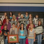 BHS Art Stuents gathered with their art for a group photo.