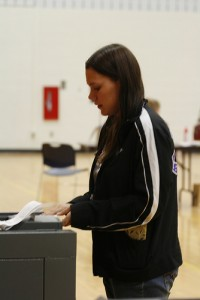 Senior Emily Anderson voting Photo by Rachel Etter