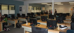 The nearly empty computer lab of McCallum's 3rd block Journalism class